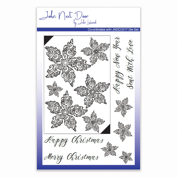 John Next Door Clear Stamp - Swirl Poinsettia
