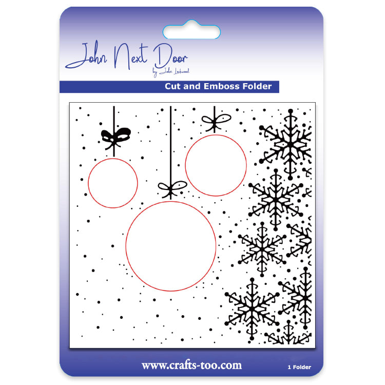 John Next Door Embossing Folder - Hanging Baubles