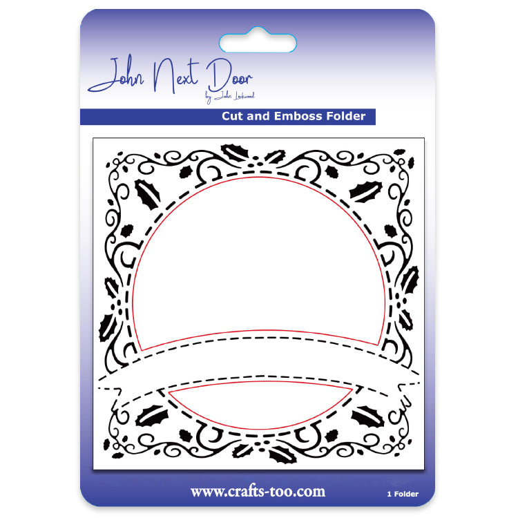 John Next Door Embossing Folder - Holly & Ivy