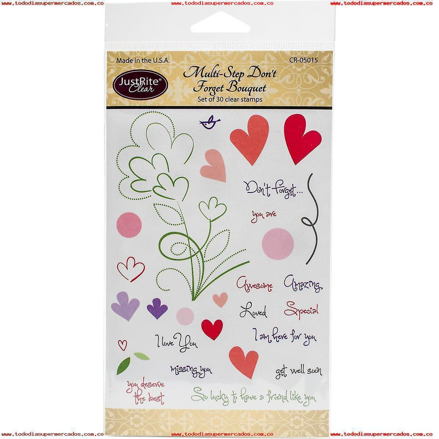 JustRite Cling Stamp - Multi-Step Don't Forget Bouquet (CR-05015)