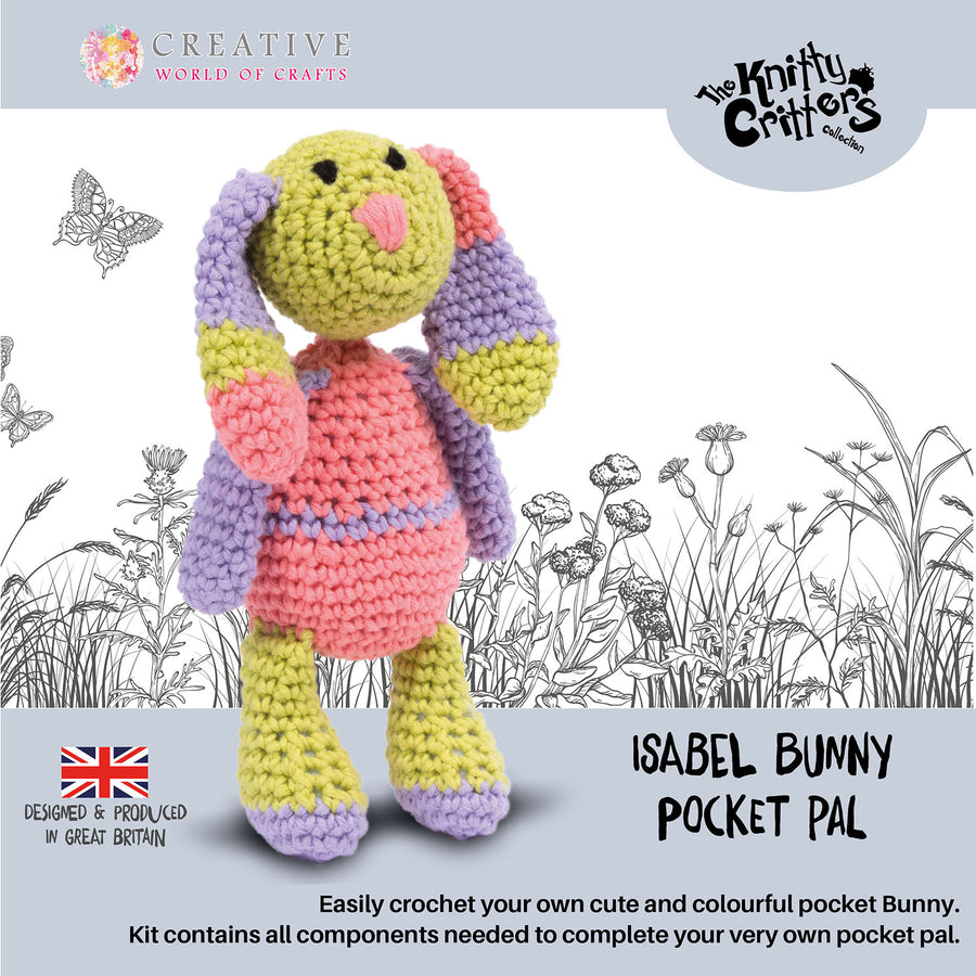 Knitty Critters Crochet Kit - Pocket Pals - Isabel Bunny