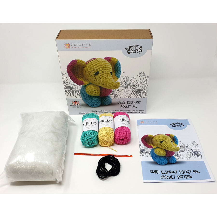 Knitty Critters Crochet Kit - Pocket Pals - Emily Elephant