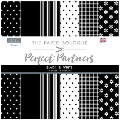 The Paper Boutique -  Perfect Partners 8x8 Paper Pad - Black & White - PB1315