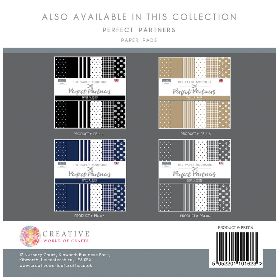 The Paper Boutique -  Perfect Partners 8x8 Paper Pad - Grey - PB1316