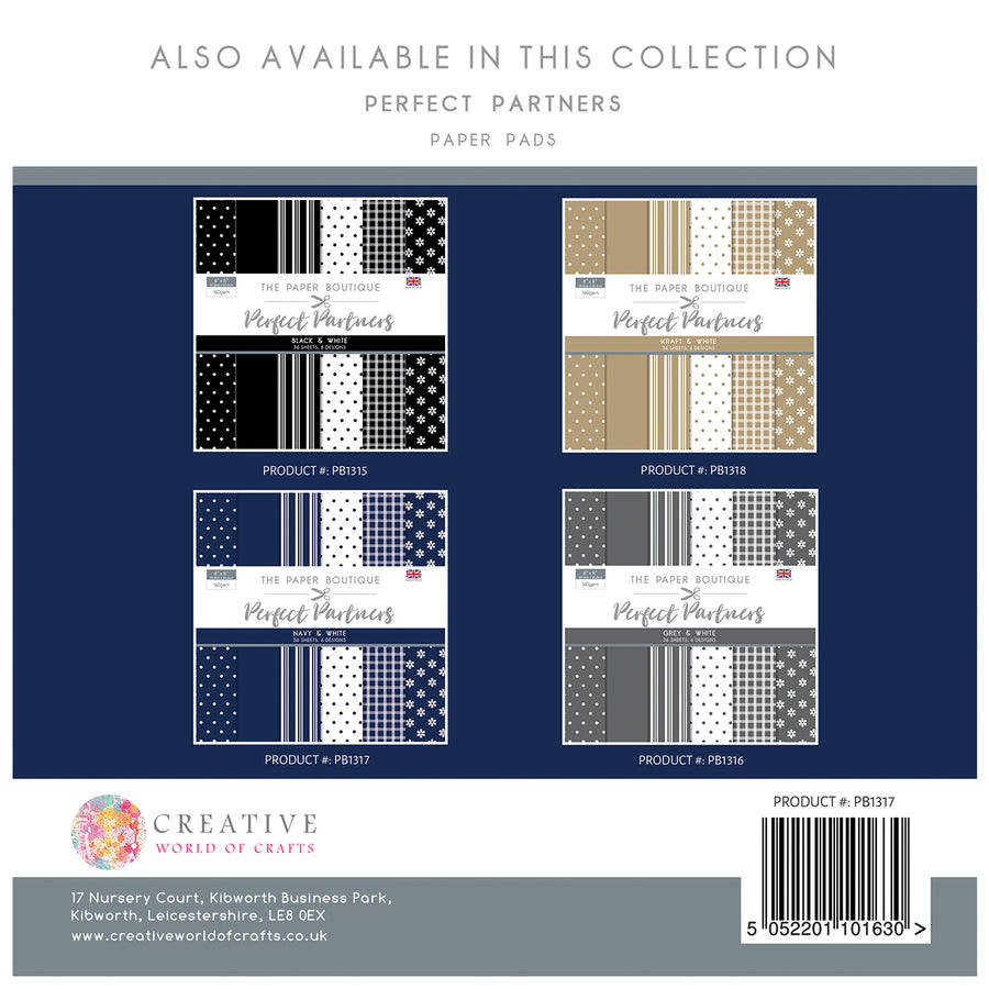 The Paper Boutique -  Perfect Partners 8x8 Paper Pad - Navy - PB1317