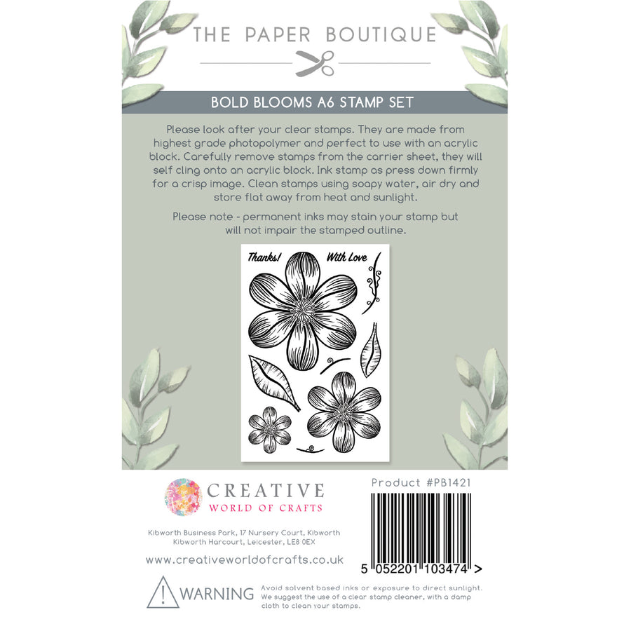 The Paper Boutique - Bold Blooms - A6 Stamp Set