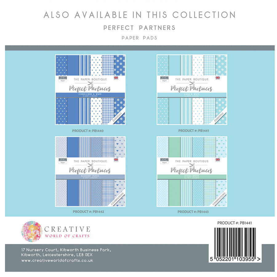The Paper Boutique - Perfect Partners 8x8 Paper Pad - Aqua - PB1441