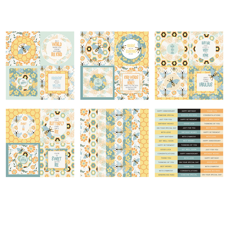 The Paper Boutique -  Perfect Partners 8x8 Paper Pad - Bee Fabulous Toppers - PB1569