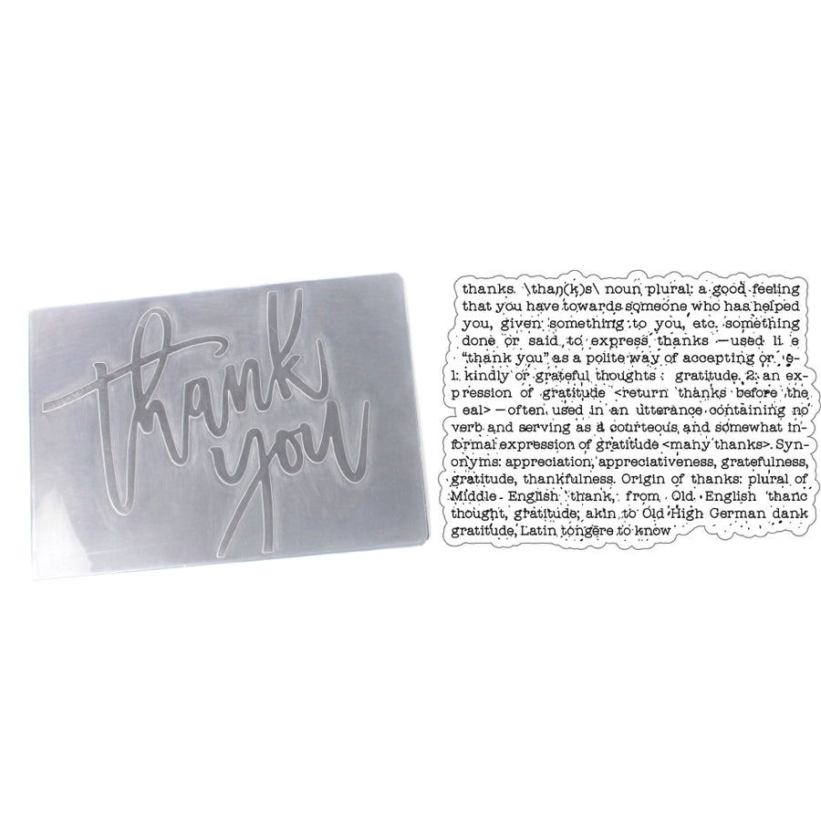 Presscut A6 Embossing Folder and Clear Stamp - Thank You