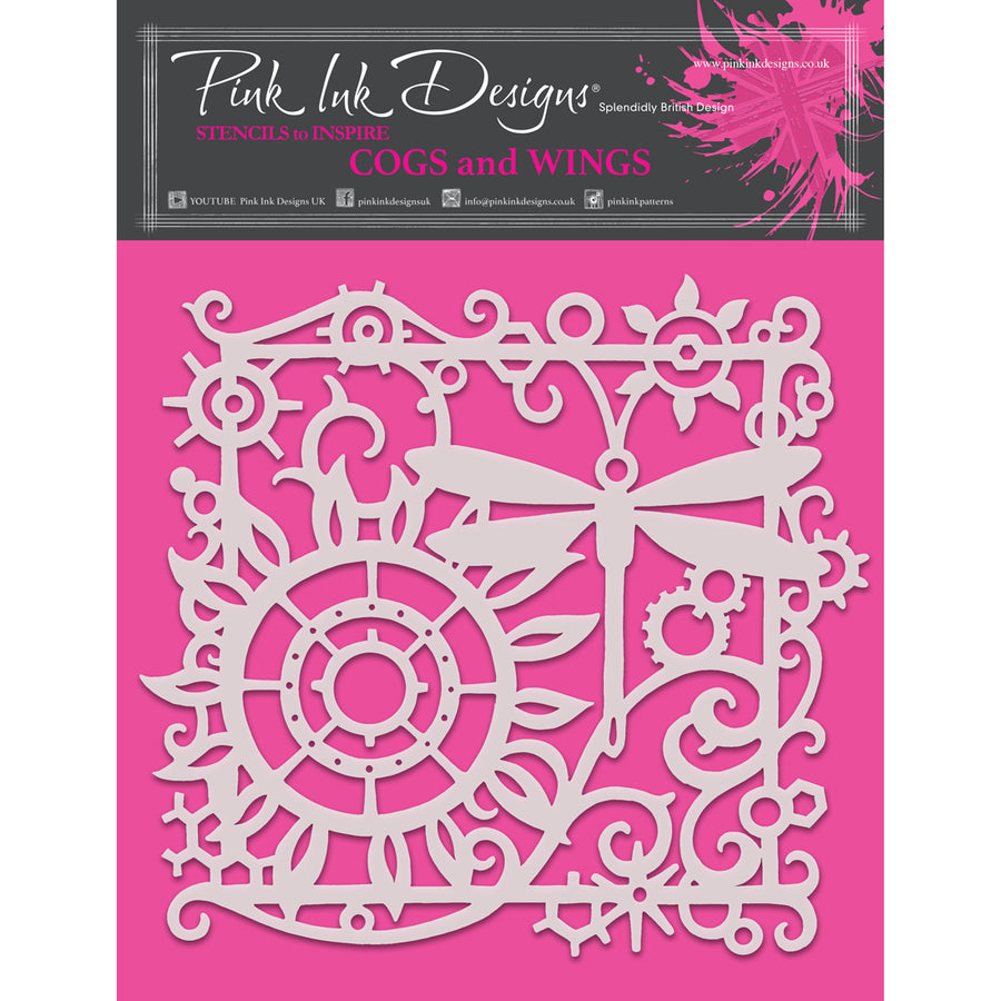 "Pink Ink 8""x 8"" Stencil - Cogs and Wings - PINKST011"
