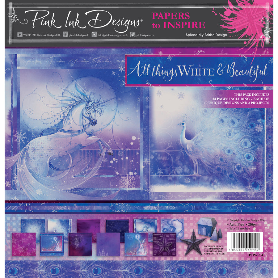 Pink Ink Designs - All Things White & Beautiful - 12 in x 12 in Paper Pad