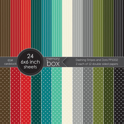 Memory Box - Dashing Stripes and Dots 6x6 Paper Pack - PP1002