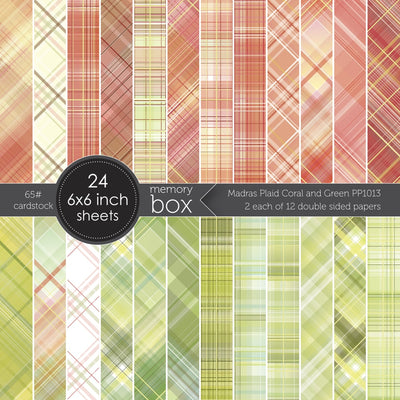 Memory Box Paper Pack - Madras Plaid Coral and Green 6x6 - PP1013