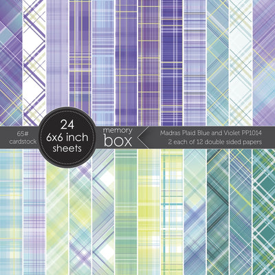 Memory Box Paper Pack - Madras Plaid Blue and Violet 6x6 - PP1014