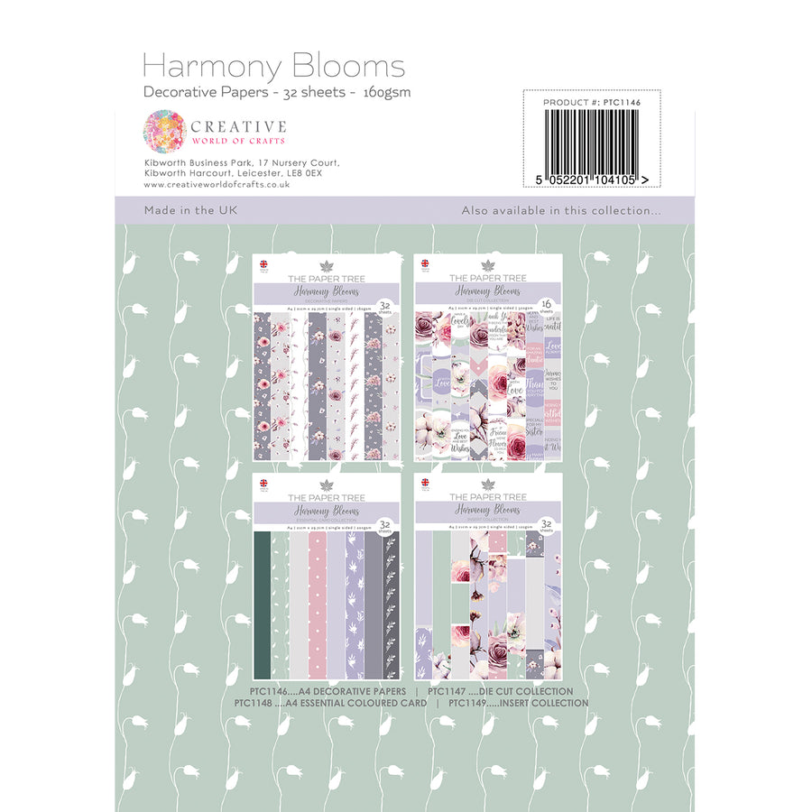 Paper Tree - Harmony Blooms - A4 Backing Papers - PTC1146