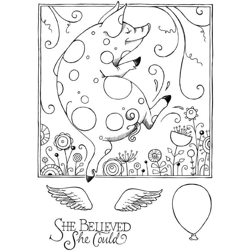 Pink Ink Designs - Stamp & Die Set - Pigs Might Fly