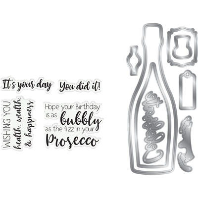 Gemini by Crafters Companion - Stamp & Die - Prosecco Celebration
