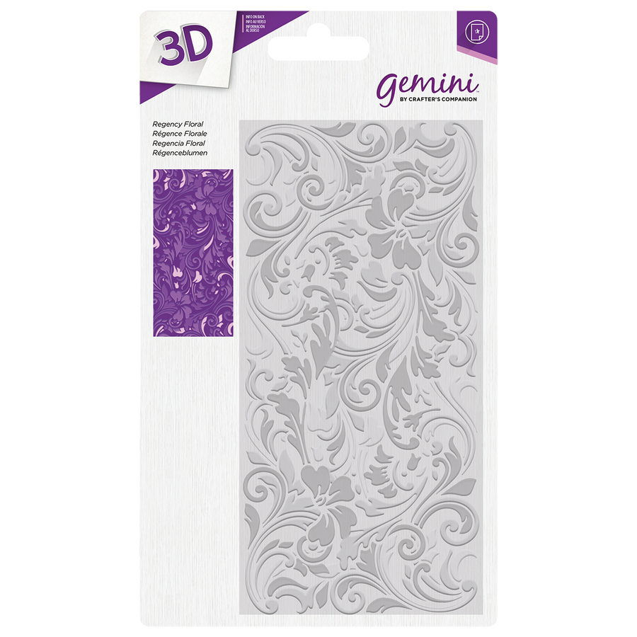 "Gemini by Crafters Companion - 3D Embossing Folder 5.75"" x 2.75"" - Regency Floral"