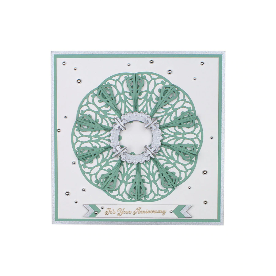 Spellbinders Die - Dimensional Doily - Amazing Paper Grace by Becca Feeken - Petite Double Bow with Dimensional Circles - S3-397