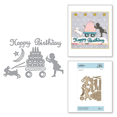 Spellbinders Shapeabilities - Sending A Happy Birthday Dies - Happy by Sharyn Sowell - S4-1003