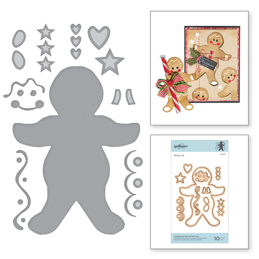 Spellbinders Dies - A Sweet Christmas - Sharyn Sowell - Gingerbread Boy Garland Tag - S4-940
