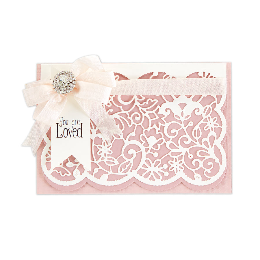 Spellbinders Dies - Candlewick Sampler by Becca Feeken - Candlewick Lace Card Front - S5-402