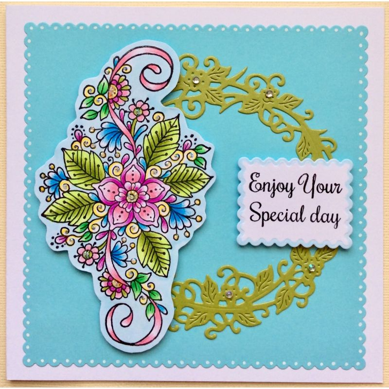Sweet Dixie Stamps - Fantasy Floral Swirl and Corner