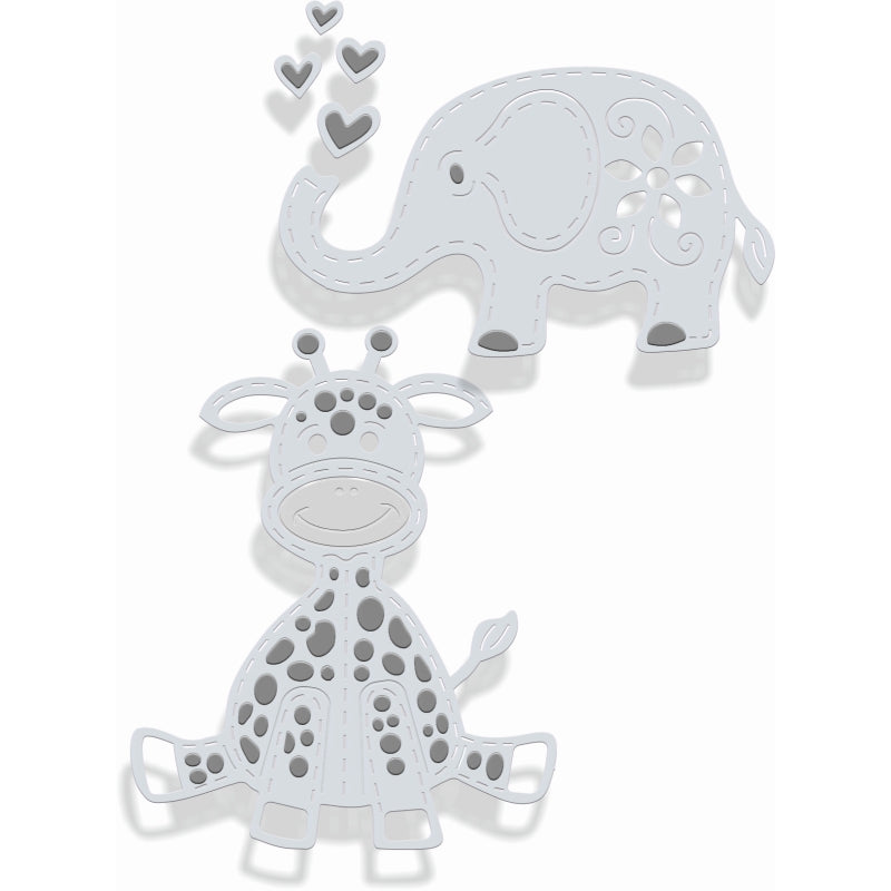 Sweet Dixie Dies - Toy Giraffe and Elephant - SDD357