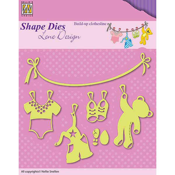 Nellie Snellen Shape Dies Lene Design - Build-up Clothesline - SDL034