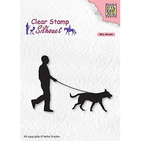Nellie Snellen Stamp - Silhouette - Man with Dog