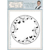 Phill Martin - Butterfly Elegance Large Stitched Circle Frame Pre Cut Stamp