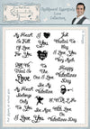 Phill Martin Stamps: Chalkboard Essentials Love Collection A5 Clear Stamp Set