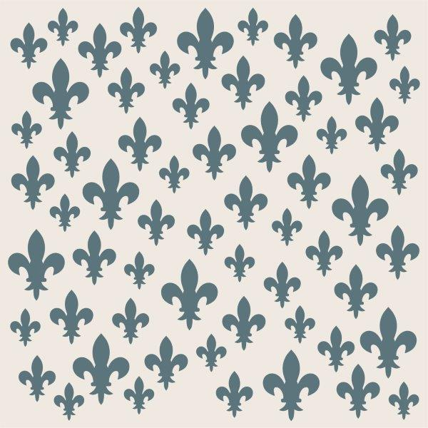 Phill Martin Sentimentally Yours 8 x 8 Stencil - Scattered Fleur De Lis