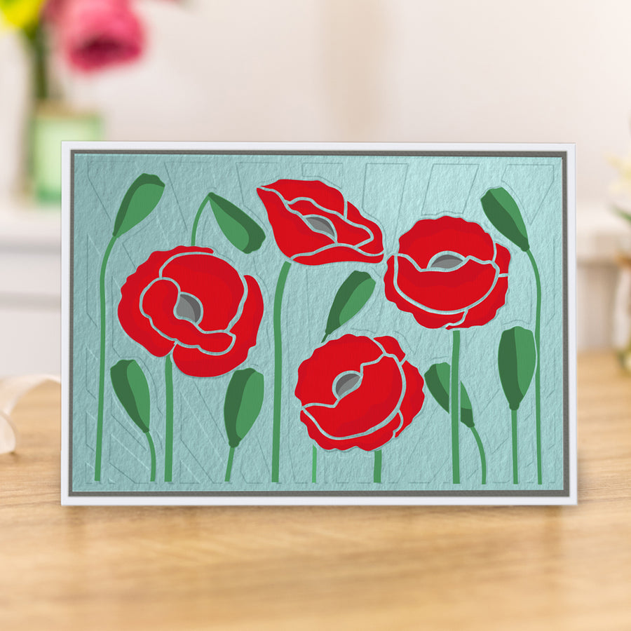 Gemini 3D Embossing Folder & Stencil - Precious Poppies