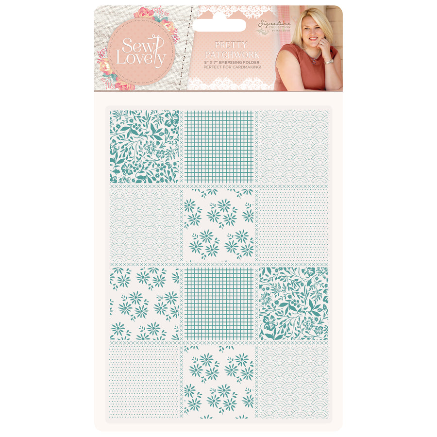 Sara Signature Collection - Sew Lovely - 5x7 Embossing Folder - Pretty Patchwork