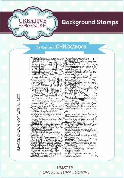 John Lockwood Stamps - The Language of Flowers - Horticultural Script A6 Background Stamp