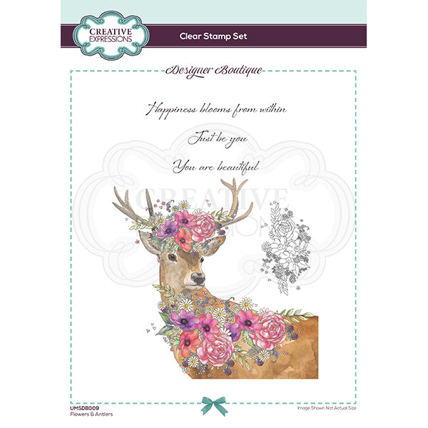 Creative Expressions Stamp - Designer Boutique Collection - Flowers & Antlers