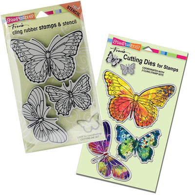 Stampendous: Cling Stamp, Die and Stencil Set PenPattern Butterflies (CRS5071 & DCS5071)