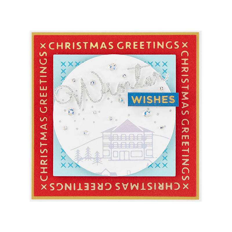 Spellbinders Glimmer Hot Foil Plate - Sparkling Christmas - Christmas Essential Glimmer Squares - GLP-181