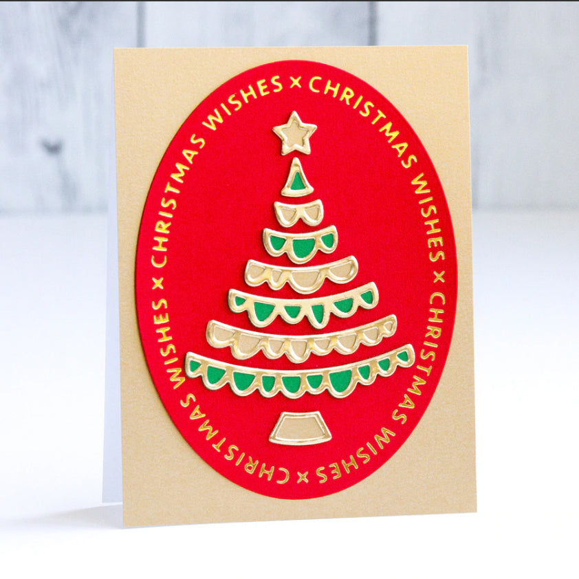 Spellbinders Glimmer Hot Foil Plate - Sparkling Christmas - Christmas Essential Glimmer Ovals - GLP-182