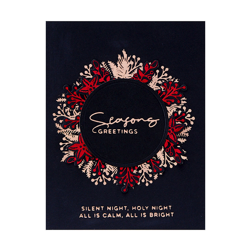 Spellbinders Glimmer Hot Foil Plate & Die Set - Yana's Christmas - Christmas Foliage Circle Border - GLP-188
