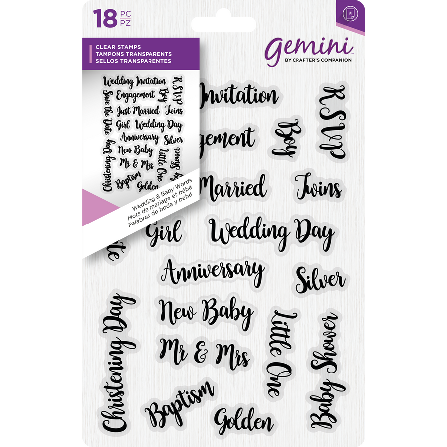 Gemini A6 Clear Stamp - Wedding & Baby Words