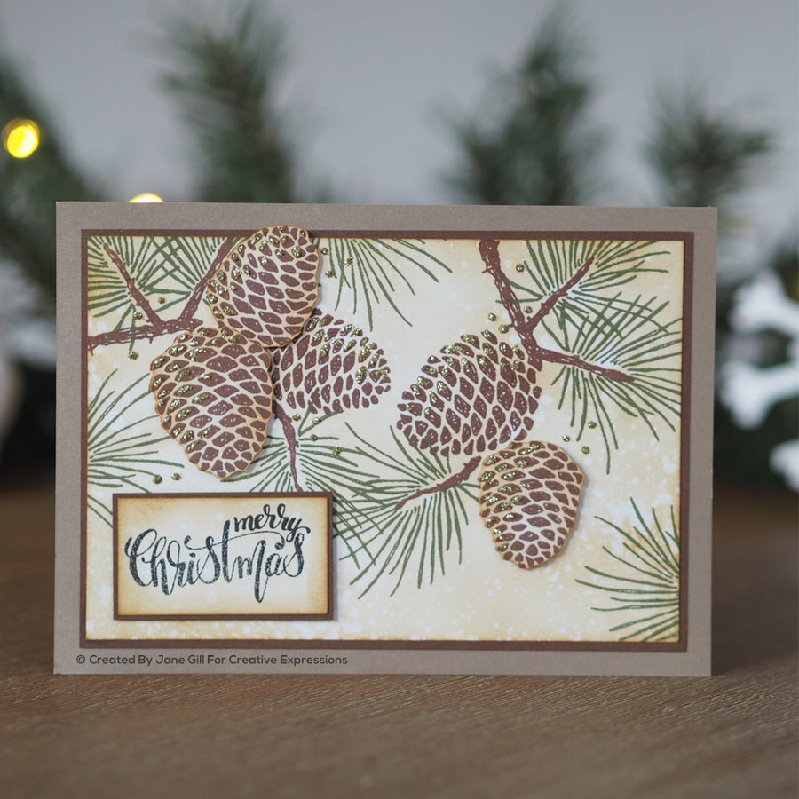 Woodware Clear Singles - Sketchy Pine Cones - JGS739