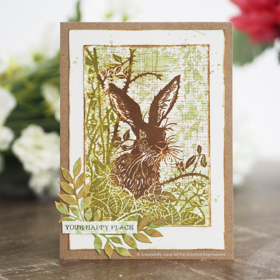 Woodware Clear Singles - Lino Cut - Hare in the Brambles - JGS743