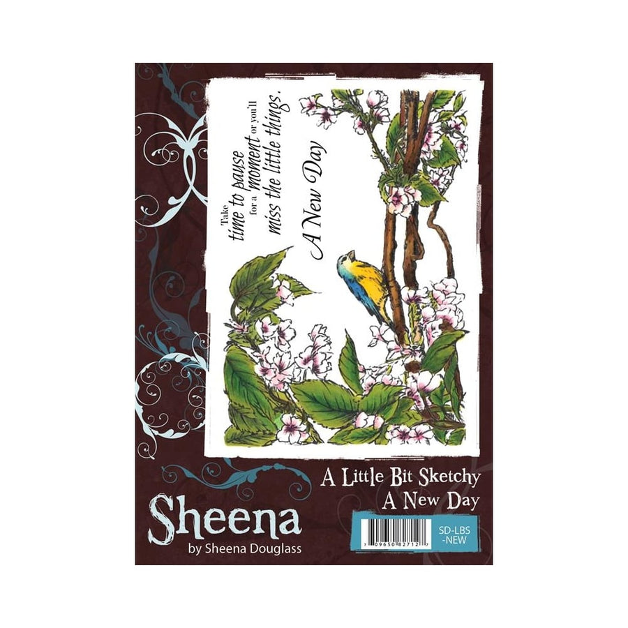 Sheena Douglass A Little Bit Sketchy A6 Unmounted Rubber Stamp - A New Day