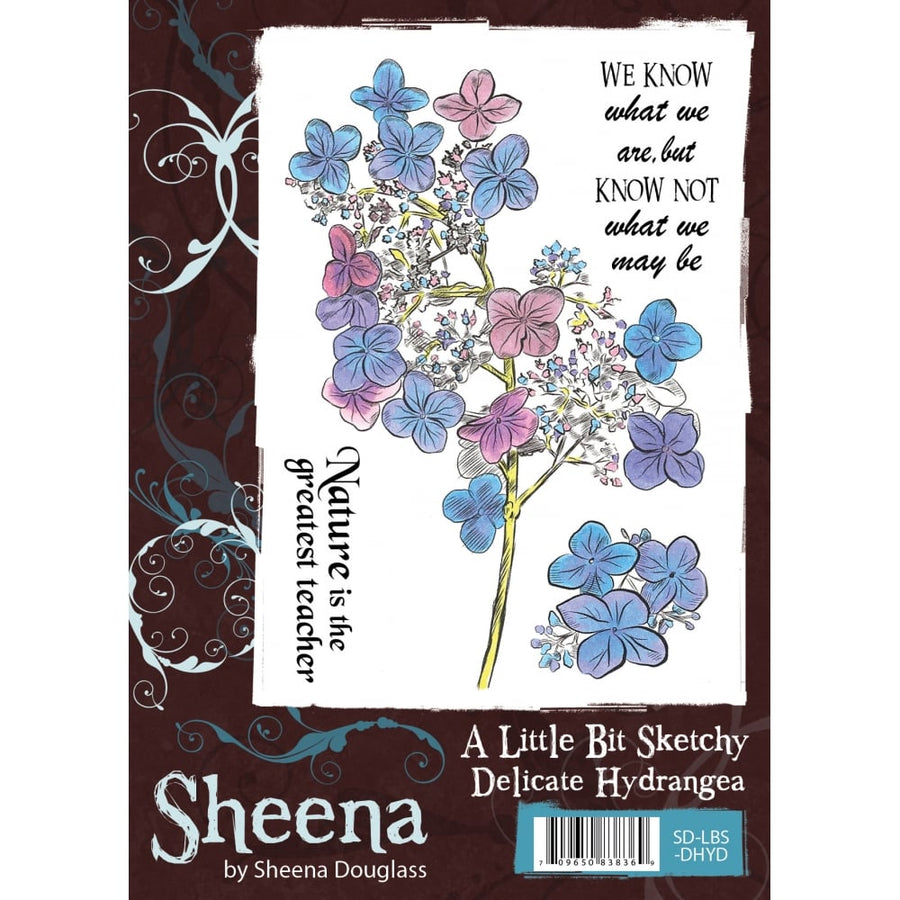 Sheena Douglass A Little Bit Sketchy A6 Unmounted Rubber Stamp - Delicate Hydrangea