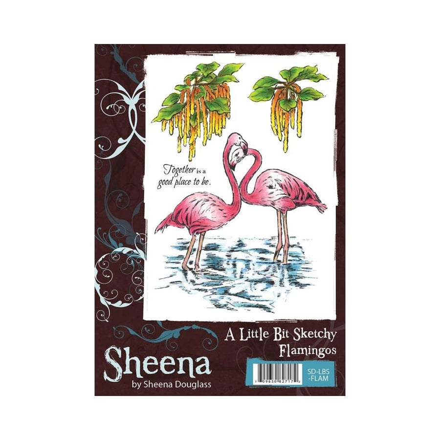 Sheena Douglass A Little Bit Sketchy A6 Unmounted Rubber Stamp - Flamingos