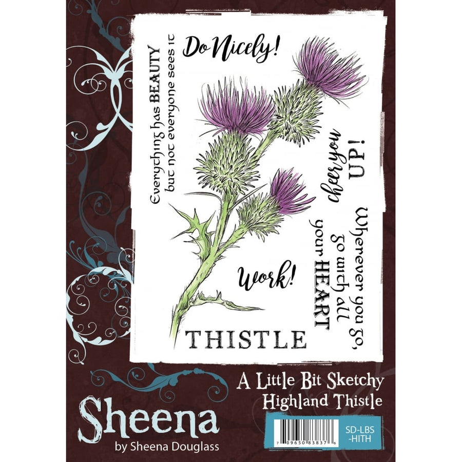 Sheena Douglass A Little Bit Sketchy A6 Unmounted Rubber Stamp - Highland Thistle
