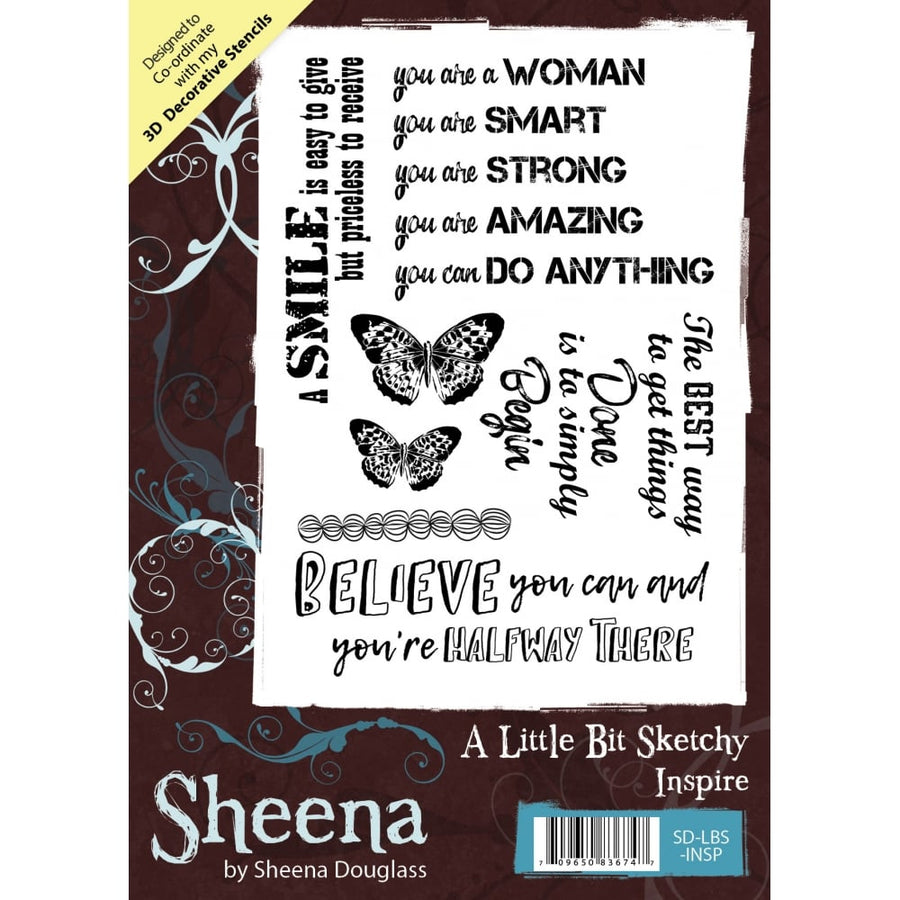 Sheena Douglass A Little Bit Sketchy A6 Unmounted Rubber Stamp - Inspire