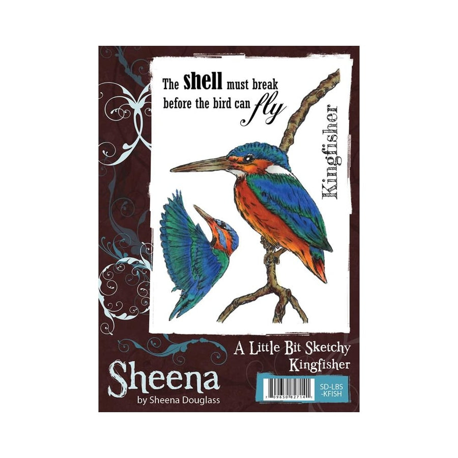 Sheena Douglass A Little Bit Sketchy A6 Unmounted Rubber Stamp - Kingfisher